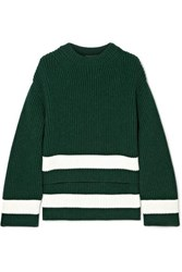 Alexander Mcqueen Striped Ribbed Wool And Cashmere Blend Sweater Green