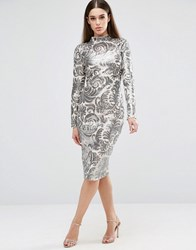 Club L Brocade Sequin High Neck Detail Midi Dress White Silver