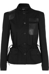 Tom Ford Suede And Textured Leather Trimmed Herringbone Cotton Jacket Black