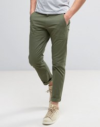 Farah Elm Slim Fit Chino In Green Military Green