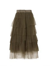 Brunello Cucinelli Tiered Satin Trimmed Tulle Midi Skirt Green