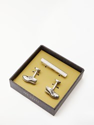 Ted Baker Tie Bar And Cufflinks Gift Set Silver