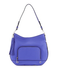 Milly Astor Tassel Zip Trimmed Hobo Bag Blue