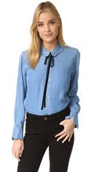 7 For All Mankind Scalloped Shirt Blue Haven