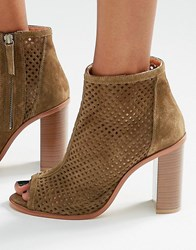 New Look Real Suede Heeled Shoe Boot Mid Green