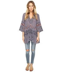 Free People You're Mine Peasant Tunic Black Combo Women's Clothing