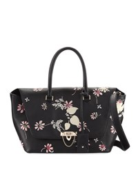 Valentino Demilune Medium Floral Satchel Bag Black Pattern
