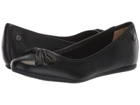 Hush Puppies Heather Bow Ballet Black Leather Slip On Shoes