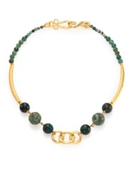 Stephanie Kantis Palette Green Moss Agate Beaded Necklace Gold Green