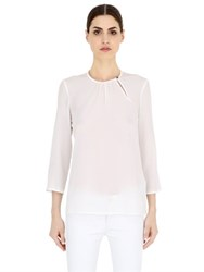 Salvatore Ferragamo Gathered Detail Silk Crepe Top