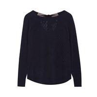 Ille De Cocos Fantasy Bow Sweater Navy And Black Blue