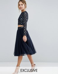Lace And Beads Tulle Skirt With Embellished Waist Co Ord Navy