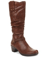 Easy Street Shoes Easy Street Joya Wide Calf Tall Boots Women's Shoes Tan