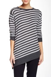 Vince Camuto Striped Boatneck Sweater Gray