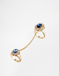 Asos Jewel Cocktail Chain Link Rings Blue