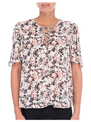 B Collection By Bobeau Floral Print Top Peach