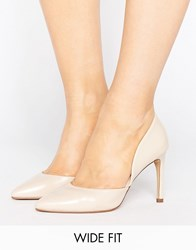 Lost Ink Wide Fit Cut Out Nude Court Shoes Nude Beige