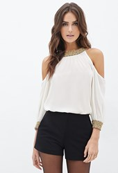 Forever 21 Contemporary Beaded Chiffon Cutout Blouse Cream Gold