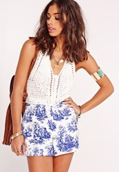 Missguided Paisley Print High Waisted Shorts Blue Blue