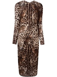 Dolce And Gabbana Cat Print Dress Brown