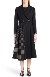 Fendi Women's Tulle Inset Stretch Wool And Cashmere Coat