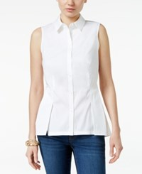 Charter Club Peplum Sleeveless Blouse Only At Macy's Bright White