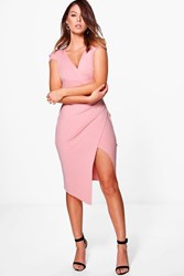 Boohoo Cap Sleeve Wrap Midi Dress Rose