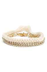 Women's Ettika Braided Crystal Bracelet Cream Gold