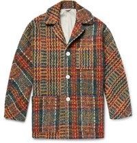 Acne Studios Min Oversized Checked Wool Blend Coat Orange