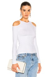 Frame Denim Variegated Cut Out Long Sleeve In White