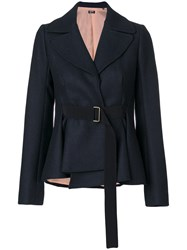 Jil Sander Navy Belted Fitted Jacket Acrylic Polyamide Polyester Wool Blue
