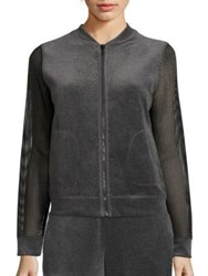 Elie Tahari Kimmy Velour Jacket Grey Black