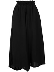 Y's Wide Legged Cropped Trousers Black