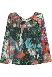 Issa Printed Silk Top Green