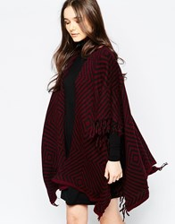 Wal G Cardigan With Fringe Detail Wine Black Red