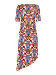 Biba Ruched Asymmetric Jersey Dress Multi Coloured Multi Coloured