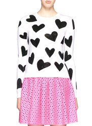 Alice Olivia 'Carey' Rhinestone Heart Intarsia Sweater Multi Colour