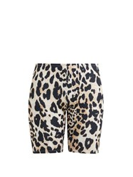 Paco Rabanne Leopard Print Stretch Jersey Cycling Shorts Leopard