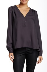 Zoa V Neck Placket Blouse Gray