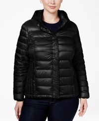 32 Degrees Plus Size Hooded Packable Down Puffer Coat Black
