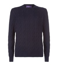 Ralph Lauren Purple Label Cable Knit Sweater Navy