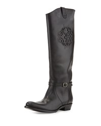 Frye Rider Cutout Logo Buckle Knee Boot Black