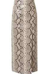 Attico Snake Effect Leather Midi Skirt Snake Print