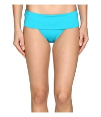 Jantzen Solids Shirred Waist Bottom Turquoise Women's Swimwear Blue