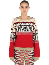 Missoni Jacquard Wool Blend Knit Sweater Multicolor