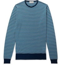 John Smedley Striped Wool Sweater Blue