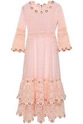 Maje Tiered Embellished Guipure Lace Dress Peach