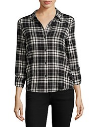 Generation Love Roberta Lace Up Plaid Shirt Black White Plaid