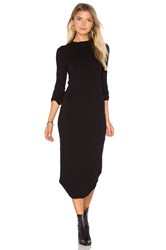 Monrow Mock Neck Long Sleeve Dress Black