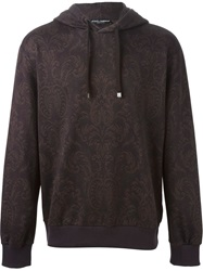 Dolce And Gabbana Floral Brocade Print Hoodie Brown